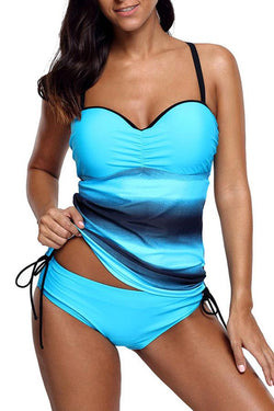 Spaghetti Strap Drawstring Side Tankini Set