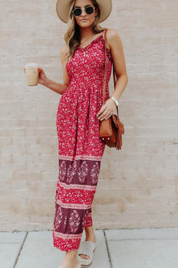 Bohemia Style Floral Print Sleeveless Dress