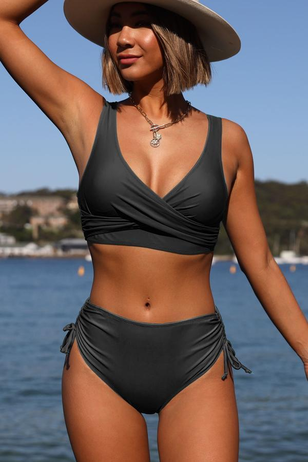 Black Twist Front Drawstring Side Bikini Set
