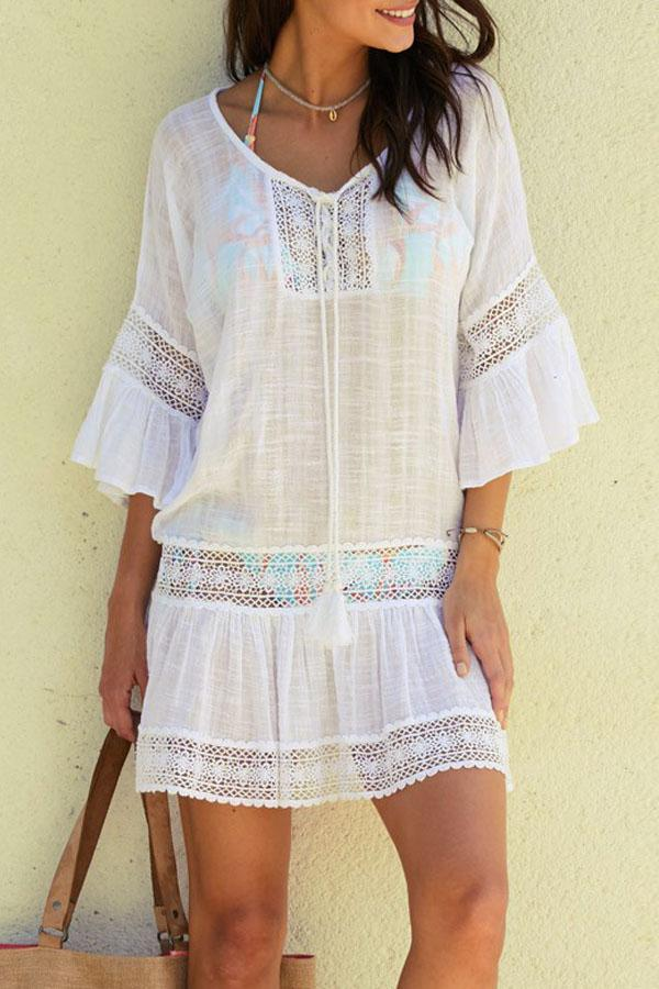 Flare Sleeves White Swimsuit Cover Up