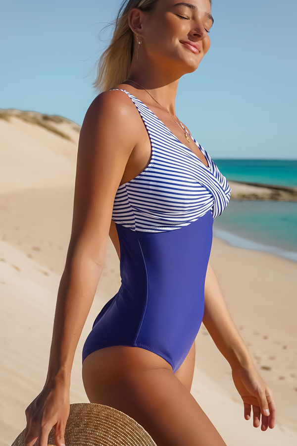 Twist Front Stripe Print One Piece Swimsuits