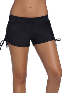 Drawstring Side Band Waist Black Swim Shorts
