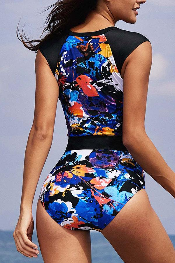 Quarter Zipper Printed Patchwork Surfing Swimwear