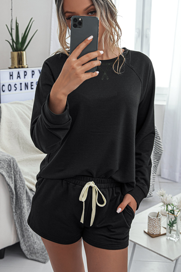 Elastic Waist Long Sleeve Black Sweats Set