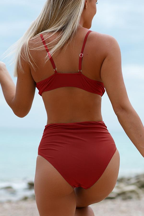 Rust Red And Twist Design Bikini Set