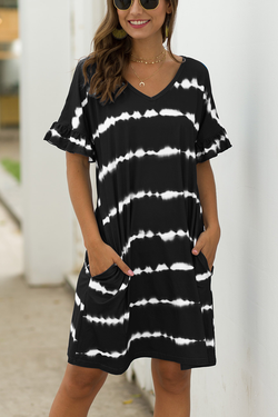 Dye Print V Neck Tunic Casual Dress