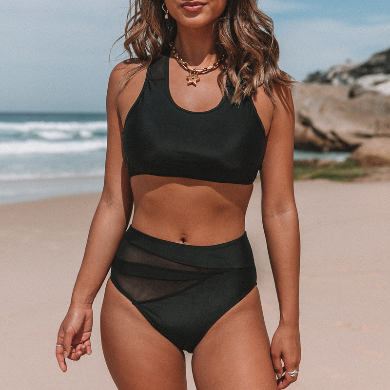 Mesh Panel High Waist Bikini Set