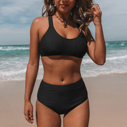 Strappy Back High Waist Solid Color Bikini Set