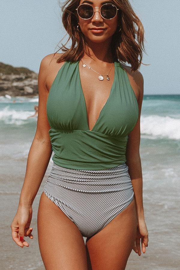 Halter Neck Retro Stripe Cute One Piece Swimwear