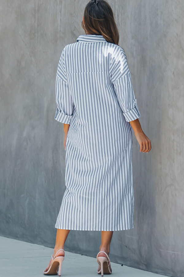 Stripe Print Turndown Collar Button Up Dress
