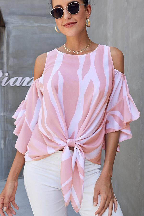 Round Neck Knot Front Causal Blouse