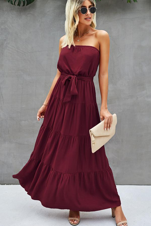 Bandeau Tie Waist Maxi Dress
