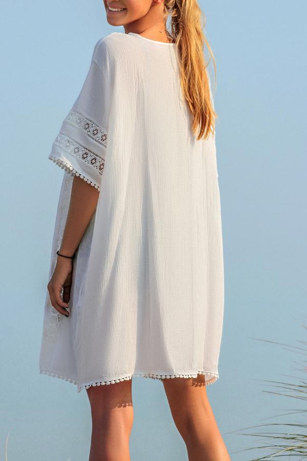 Solid Color Lace Panel Half Sleeve Cover Up