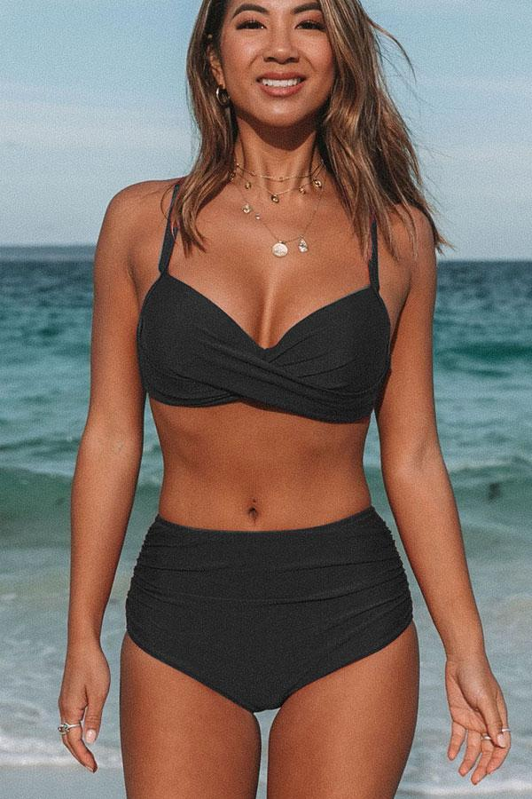 Twist Front High Waist Black Bikini