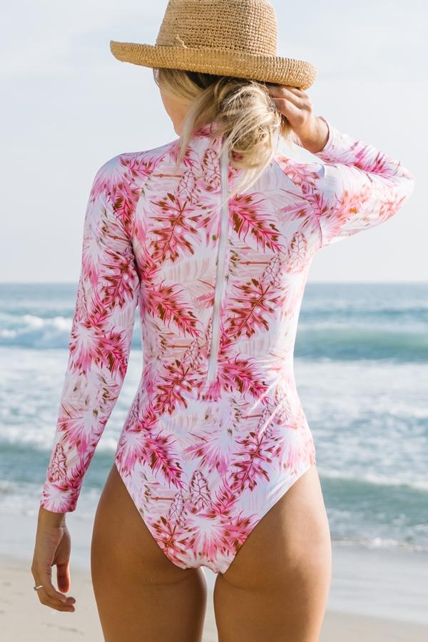 Leaf Print Cutout Surfing Swimsuit