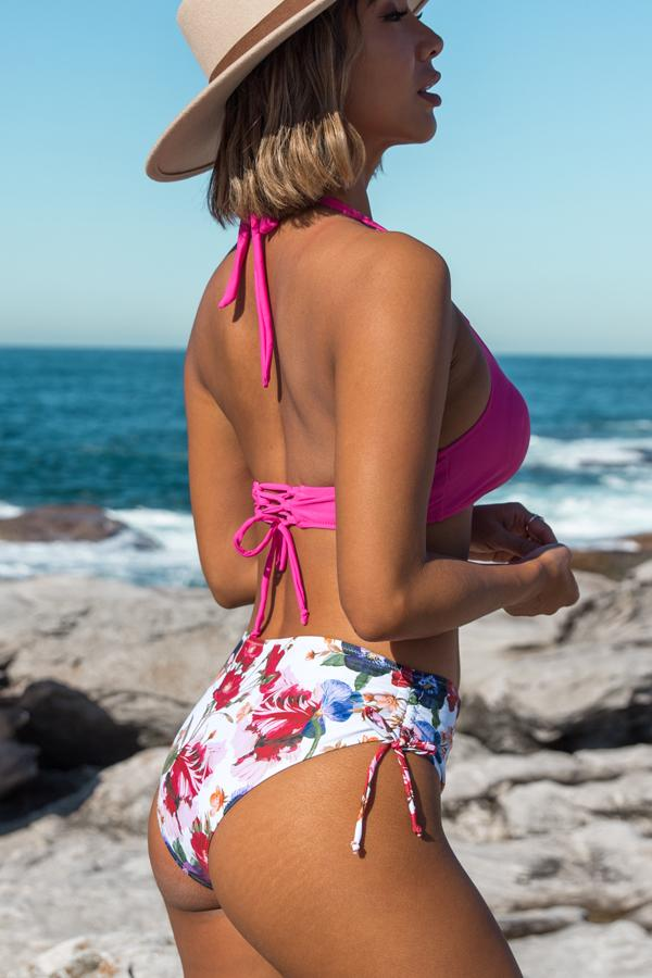 Floral Print Halter Backless Bikini Set