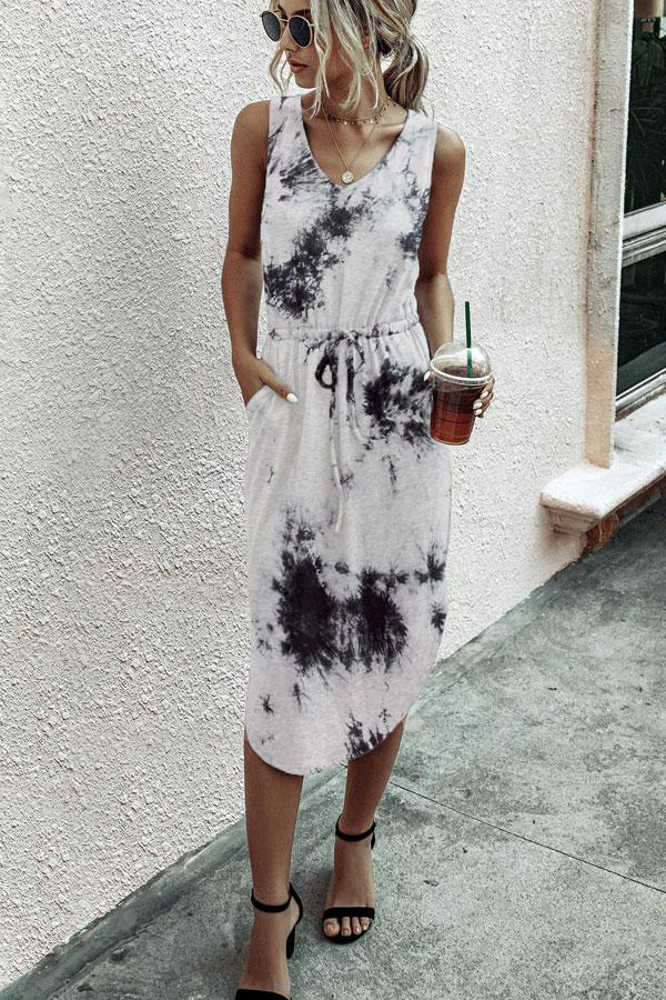 Asymmetric Hem Drawstring Waist Dye Print Casual Dress
