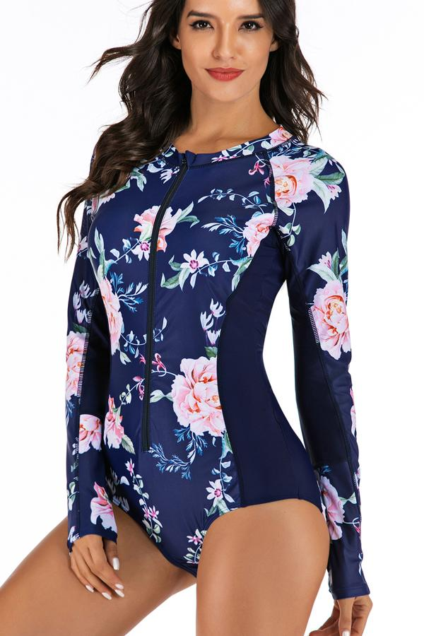 Flower Print Long Sleeve Surfing Swimwear