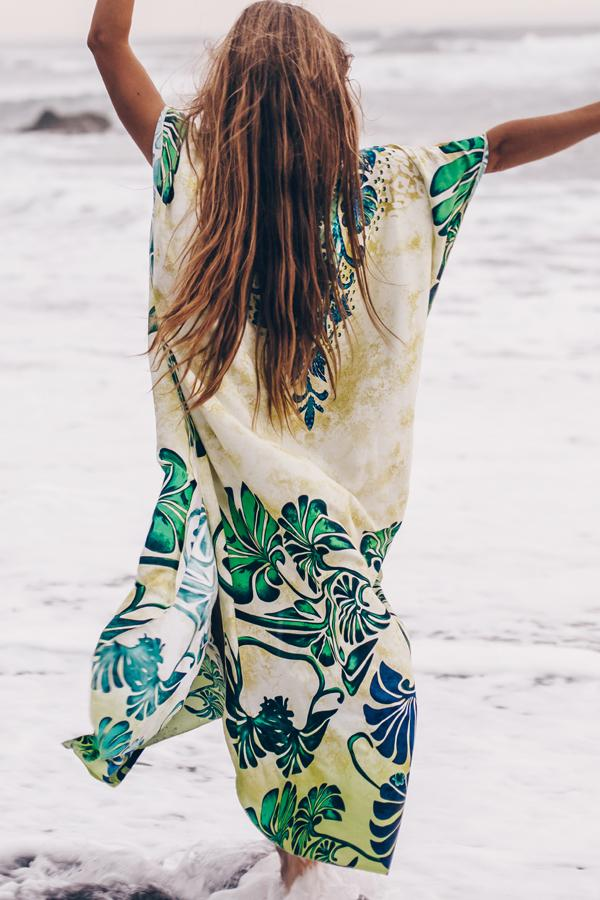 Leaf Print V Neck Maxi Swimsuit Cover Up