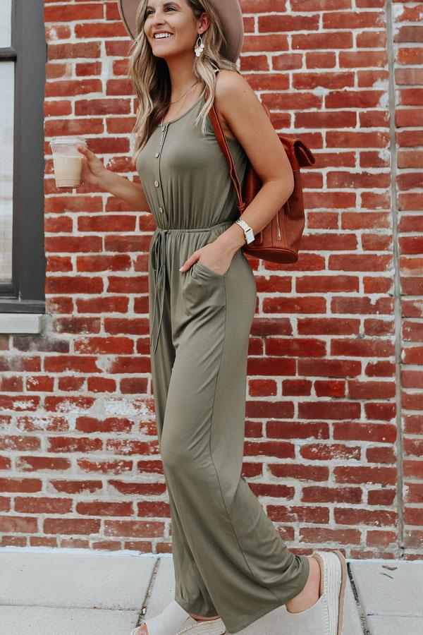 Army Green Sleeveless Button Detail Jumpsuits