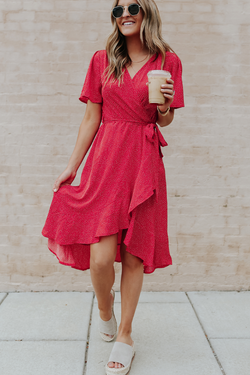 Polka Dot V Neck Tie Waist Midi Dress