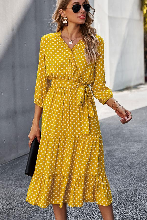 Polka Dot Print Belted V Neck Midi Dress