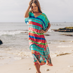 V Neck Stripe Print Side Slit Cover Up