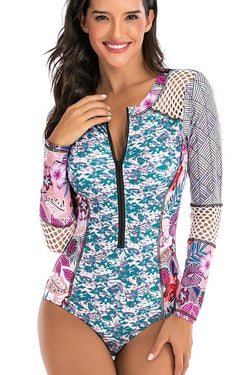 Long Sleeve Patchwork Printed Zipper Front Surfing Swimwear