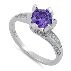 Sterling Silver Round Cut Amethyst & Clear CZ Ring