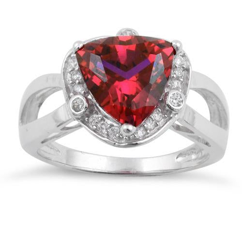 Sterling Silver Ruby Trillion Cut Halo CZ Ring