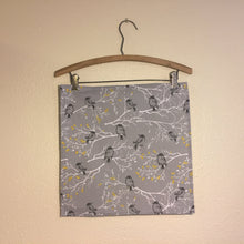 Load image into Gallery viewer, Special variety pack of four napkins; two grey birds, 2 grey and white leaves. 100% cotton fabric, machine wash and dry.