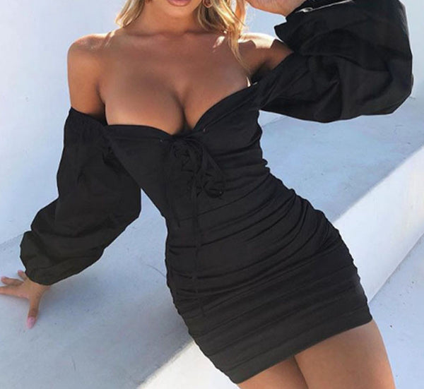 Articat Sexy Off Shoulder Bandage Dress Women Solid Puff-Sleeve Skinny Dresses Ladies Wrap Chest Ruched Bodycon Party Vestidos