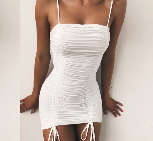Nadafair Sexy Off Shoulder Bodycon Summer Dresses Women White Backless Spaghetti Strap Mini Club Ruched Bandage Party Dress
