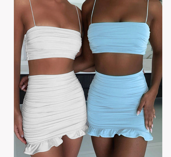 Articat White Women 2 Piece Set Bodycon Dress Ruffles Off Shoulder Crop Top Summer Dress Casual Short Beach Dress Vestidos