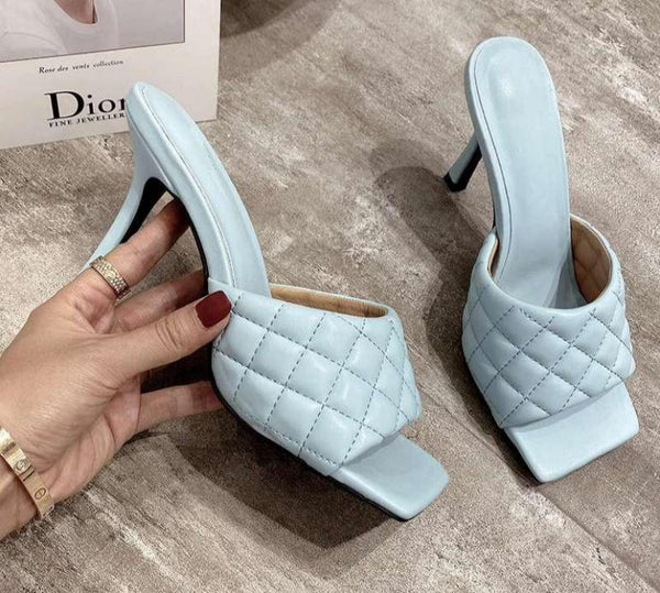 Gladiator 9CM  Ladies Sandals Brand Design Women Elegant Square Sandaly Toe Thin High Heels 9CM Summer Outdoor Beach Shoes