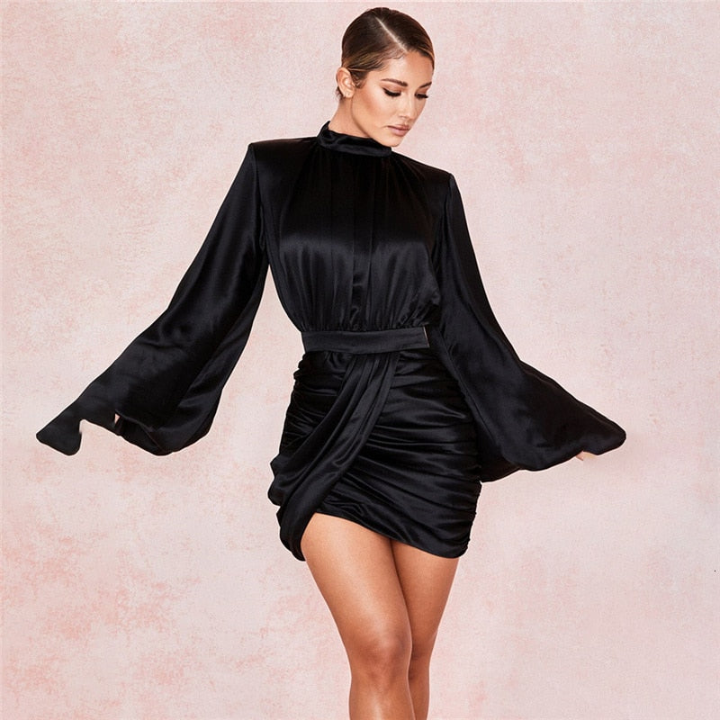 Tobinoone Celebrity Evening Party Dress Women 2020 Sexy Bodycon Puff Sleeve Satin Long Sleeve Strapless Club Dress Vestidos