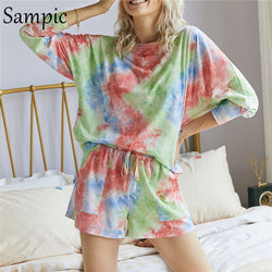 Sampic Women Sets Tracksuits Fashion Summer O Neck Tie Dye Long Sleeve Top Shirt And Loose Shorts Casual Two Piece Set Outfits