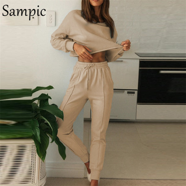 Sampic Sexy Autumn Winter Casual Women Long Sleeve Outfits 2 Piece Set Khaki Sport Shirt Tops And Basic Pants Two Piece Set
