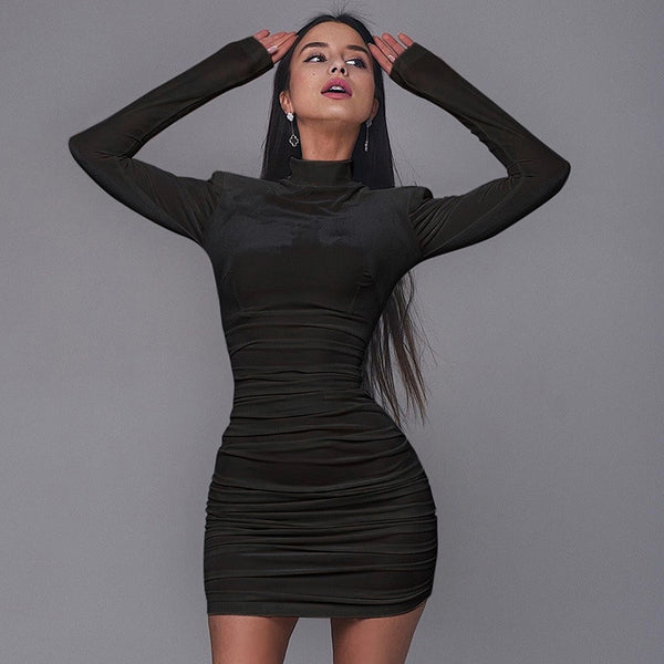 CNYIHSE Sexy Bodycon Velvet Mini Dress Women Autumn Long Sleeve High Neck Party Dresses Female Velvet Sheath Dress Robes Vestido