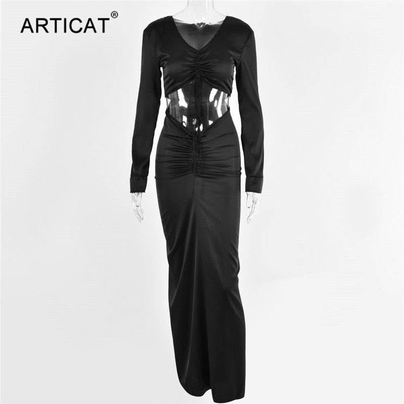 Articat Sexy V-Neck Drawstring Maxi Dresses For Women Casual Long Sleeve Bodycon Dress Female Elegant Hollow Out Party Dress