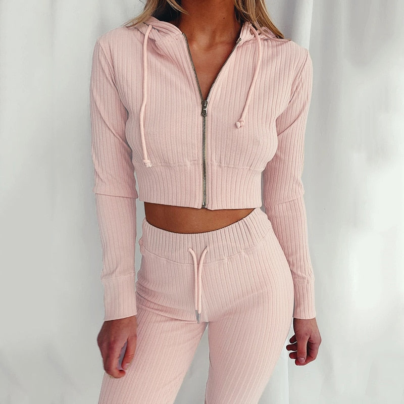 Two Piece Set Tracksuit Zipper Ribbed Harajuku Hoodie Crop Tops + Long Pants Sports Suit Sweatshirt Sportswear Clothes for Women