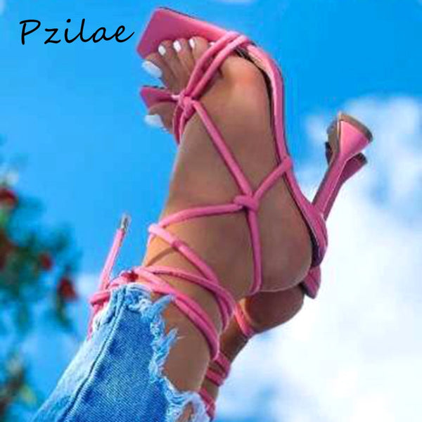 Pzilae New Arrivals Summer Women's Sandals Lace-up Cross-Strap High Heels Gladiator Sandals Open Toe Spike Heel Ladies Shoes