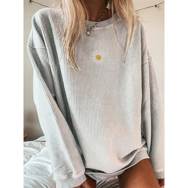 2020 Autumn Daisy Printed Pullovers Sweatshirts Women O Neck Long Sleeve Streetwear Loose Oversize Sweatshirt Sweatshirt Female