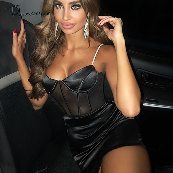 Tobinoone Sexy Black Mesh Dress Hollow Out Deep V Neck Bodycon Dress 2020 Women Summer Sleeveless Mini Dress Party Club Female