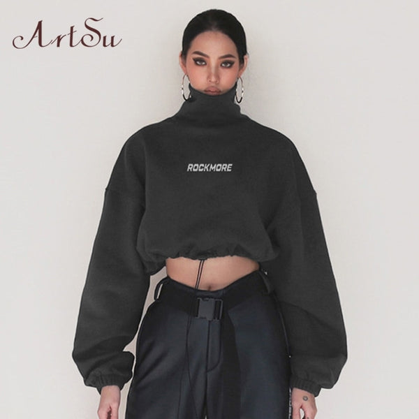 Artsu High Neck Hoodies Cotton Turtleneck Sweatshirt Women 2020 Autumn Loose Long Sleeve Fitted Waist Crop Top Pullovers