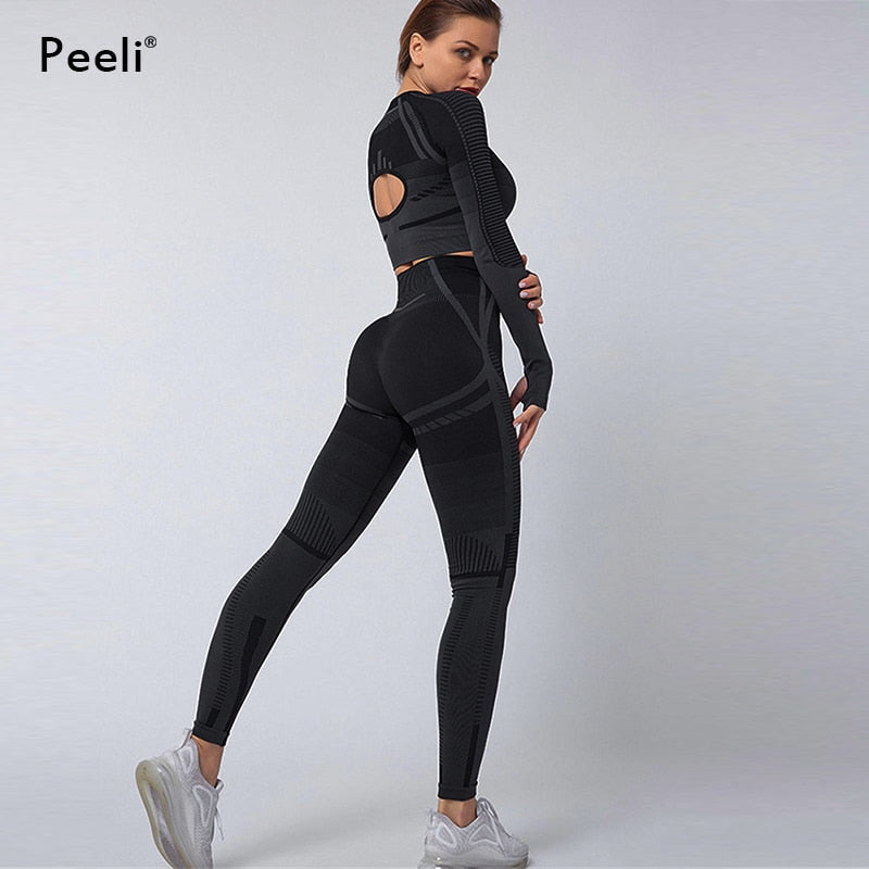 Peeli 2 PC Sports Set Seo Seamless Yoga Set Sport Suit for Women Long Sleeve Gym Crop Top High Waist Leggings Fitness Gym Suit