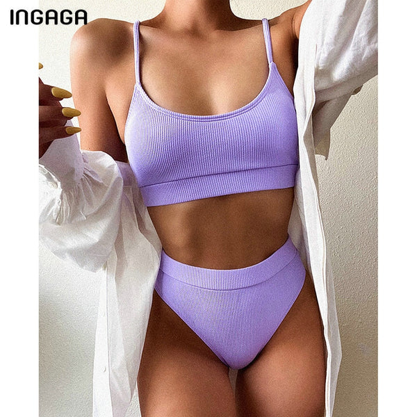 INGAGA High Waist Bikinis Swimsuits Women Push Up Swimwear Ribbed Strap Bathing Suit Biquini Brazilian Bikini 2021 New Beachwear