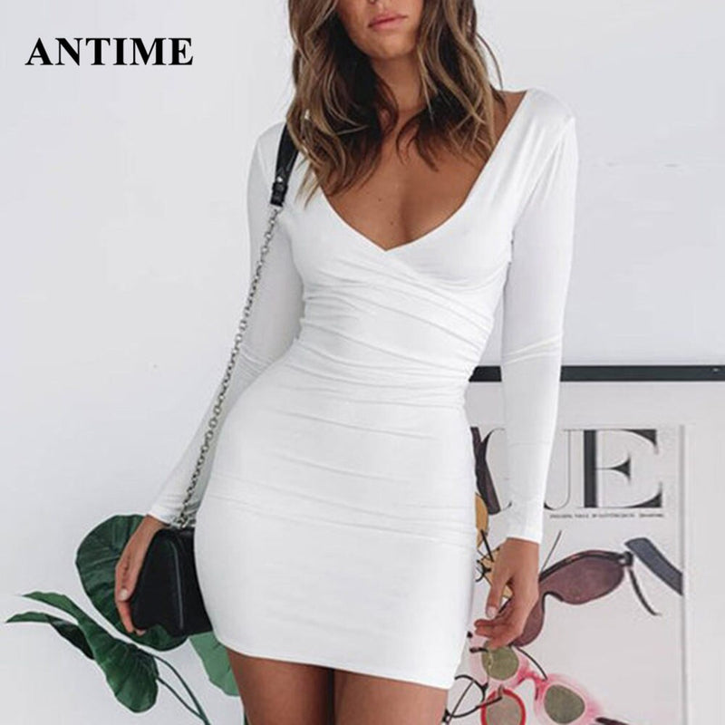Antime Black Red Women Mini Dress Bodycon Club Party Long Sleeve V Neck Women Sheath Autumn Winter Tunic Sexy Ladies Dress
