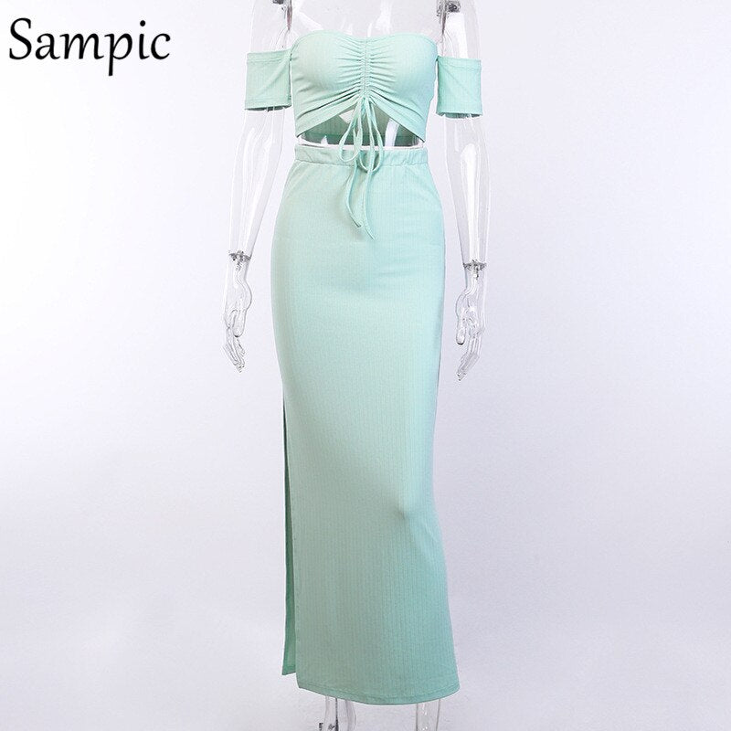 Sampic Short Sleeve Off Shoulder Two Piece Set Backless Sexy Crop Top Long Skirt Set Club Outfits Summer Women 2 Piece Set