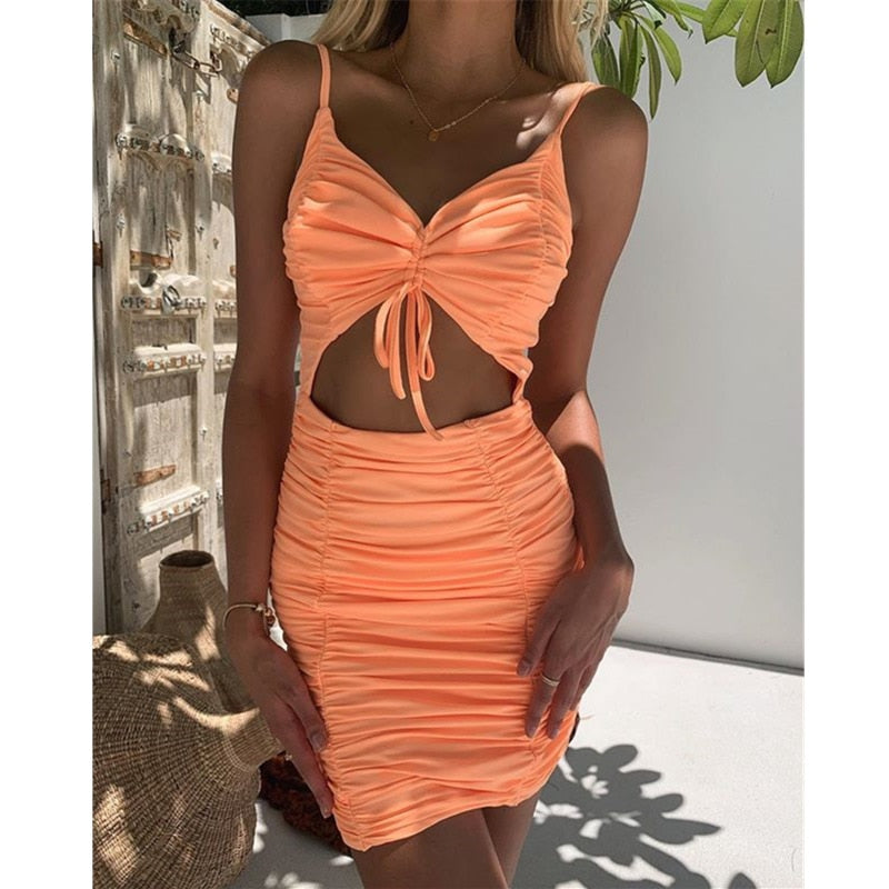 Tobinoone vintage v neck bodycon mini dress sleeveless lace-up elegant hollow out lady dress spring summer sexy women dress